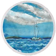 Moored In The Bay Round Beach Towel