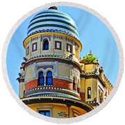 Moorish Tower With Hdr Processing Round Beach Towel
