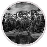 Moose At Schwabacher's Landing Round Beach Towel