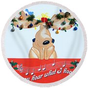 Moose Christmas Greeting Round Beach Towel