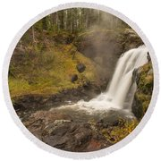 Moose Falls Round Beach Towel