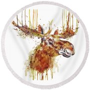 Moose Head Round Beach Towel