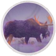 Moose In A Blizzard Round Beach Towel