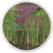 Round Beach Towel featuring the photograph Moose In Bulrushes by Sue Smith