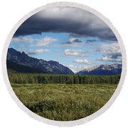 Moose Meadows, Alberta Round Beach Towel by Heather Vopni