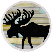 Round Beach Towel featuring the digital art Moose by Paula Brown