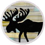 Moose Round Beach Towel by Paula Brown