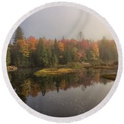 Moose River Morning Round Beach Towel