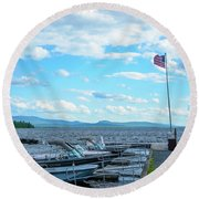 Round Beach Towel featuring the photograph Mooselookmeguntic Lake by Alana Ranney
