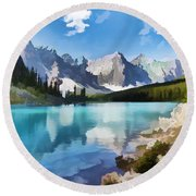 Moraine Lake At Banff National Park Round Beach Towel by Lanjee Chee