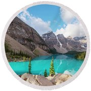 Moraine Lake Banff National Park Round Beach Towel