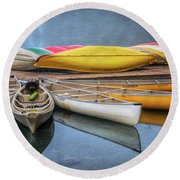 Moraine Lake Canoes Round Beach Towel