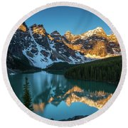 Moraine Lake Golden Alpenglow Reflection Round Beach Towel