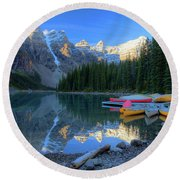 Moraine Lake Sunrise Blue Skies Canoes Round Beach Towel