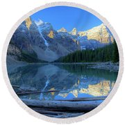 Moraine Lake Sunrise Blue Skies Logs Round Beach Towel