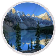 Moraine Lake Sunrise Blue Skies Round Beach Towel