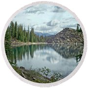 Round Beach Towel featuring the photograph Moraine Lake Canadian Rockies by Lynn Bolt