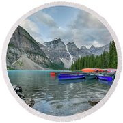 Moraine Logs And Canoes Round Beach Towel
