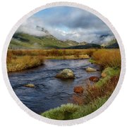 Moraine Park Morning - Rocky Mountain National Park, Colorado Round Beach Towel