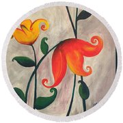 More Fun Flowers -b Round Beach Towel