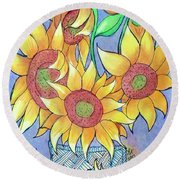 More Sunflowers Round Beach Towel