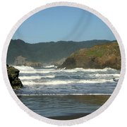 Round Beach Towel featuring the photograph More Than A Wave by Marie Neder