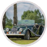 Round Beach Towel featuring the photograph Morgan Sports Car by Adrian Evans