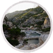 Morgiou Village Round Beach Towel