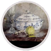 Morisot Berthe Tureen And Apple Round Beach Towel by Berthe Morisot