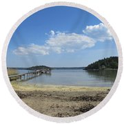 Aspvik On Morko Island Round Beach Towel