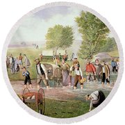 Mormon Pioneers Pulling Handcarts On The Long Journey To Salt Lake City In 1856 Round Beach Towel