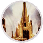 Mormon Temple Steeple Round Beach Towel by Joseph Hollingsworth