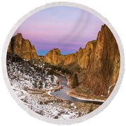 Mornign Colors At Smith Rock State Park Round Beach Towel
