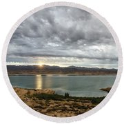 Round Beach Towel featuring the photograph Morning After The Storm by Margaret Pitcher