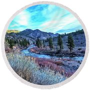 Morning Along The Truckee Round Beach Towel by Nancy Marie Ricketts