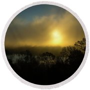Round Beach Towel featuring the photograph Morning Arrives by Karol Livote