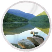 Morning At Echo Lake Round Beach Towel