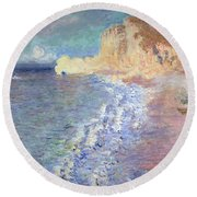 Morning At Etretat Round Beach Towel