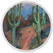 Round Beach Towel featuring the painting Morning At Fort Apache by Diane McClary