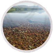 Round Beach Towel featuring the photograph Morning At Lake Mcdonald by Margaret Pitcher