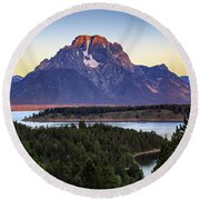 Morning At Mt. Moran Round Beach Towel
