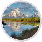 Morning At Oxbow Bend Round Beach Towel