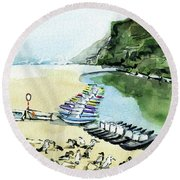 Round Beach Towel featuring the painting Morning At Porto Novo Beach by Dora Hathazi Mendes