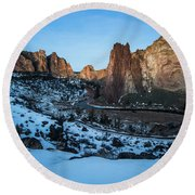 Morning At Smith Rock State Park Round Beach Towel