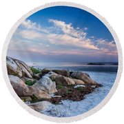 Morning At The Beach Round Beach Towel
