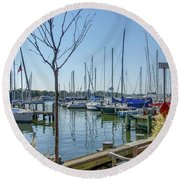 Morning At The Marina Round Beach Towel