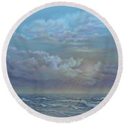 Round Beach Towel featuring the painting Morning At The Ocean by Luczay