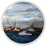 Morning At The Wharf Round Beach Towel