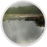 Morning Autumn Mist On Baker Pond Round Beach Towel by Nancy Griswold