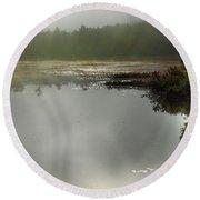 Morning Autumn Mist On Baker Pond Round Beach Towel